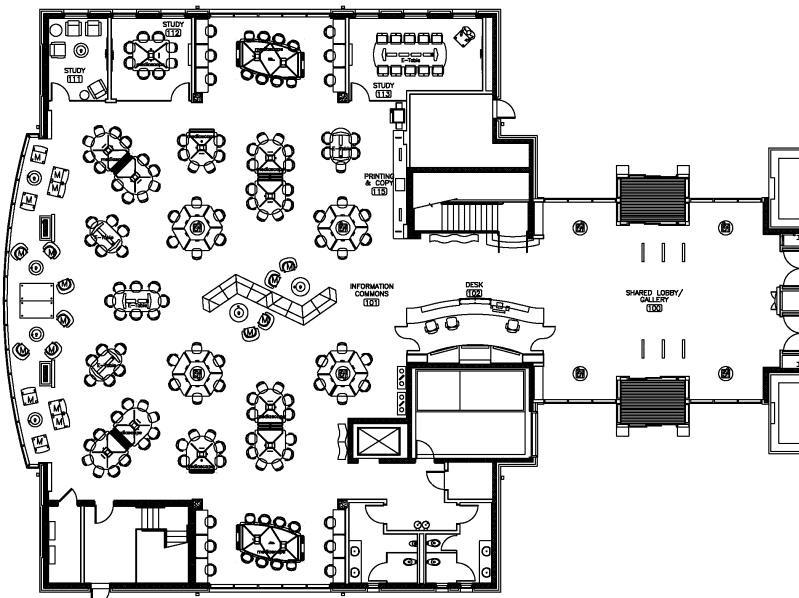 Floor plan for the Bryan Family Information Commons