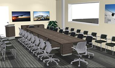 Mock up of conference room incorporating audiovisual technology